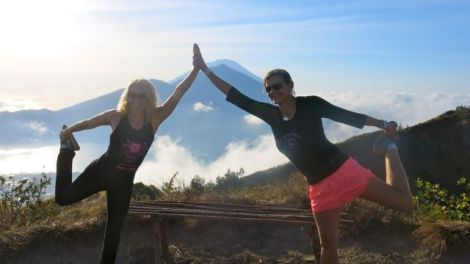 Tracey Spicer & Jo Sharp doing their sunrise moves at Mt Batur