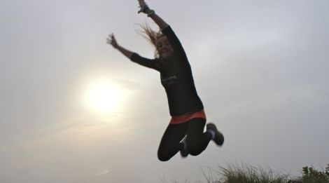 Sunrise leap at Mt Batur